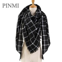 PINMI Black Plaid Winter Scarf Women  Luxury Brand Warm Cashmere Scarves and Shawls Large Triangle Pashmina Blanket Wraps