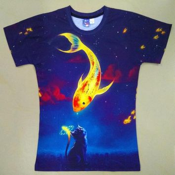 Space Galaxy - Golden Fish - Cat - Unisex T-shirt - All Over Print