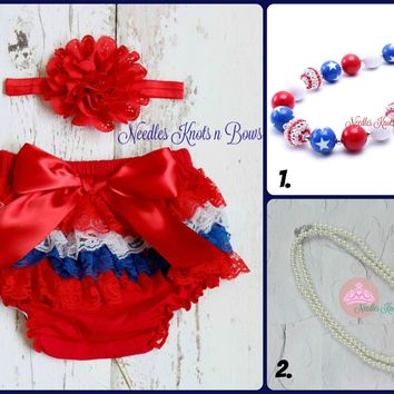 Baby Girls 4th of July Lace Bloomers wth Headband Set, 4th of July Cake Smash