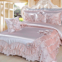 DaDa Bedding Dahlia Comforter Set King 5 Pieces with Removable decorative pins Light Pink