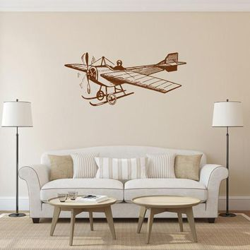 ik1886 Wall Decal Sticker aircraft airplane old retro living room bedroom