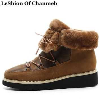 Large Size 43 Real Fur Lined Warm Winter Snow Boots Women Cross Strap Flats Casual Shoes Girls Ankle Boots Woman Booties Sneaker