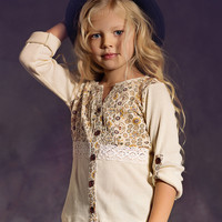 Jak and Peppar Ivory Girls Tunic Gypsy Flowers