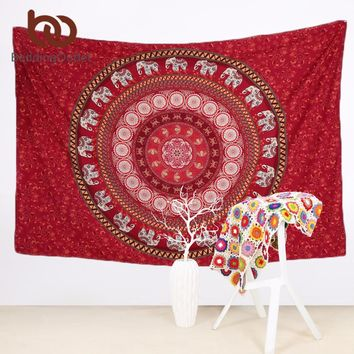 BeddingOutlet Red Mandala Tapestry Elephant Messenger Indian Bohemia Wall Hanging Carpet Polyester Wall Tapestry Home Decor 1Pc