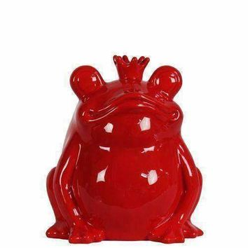 Adorable Ceramic Sitting Frog Figurine With Crown