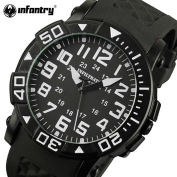 INFANTRY Men Quartz Watches Relojes Military Aviator Rubber Strap 30m Waterproof Sports Watches 24 Hours Display Wristwatches