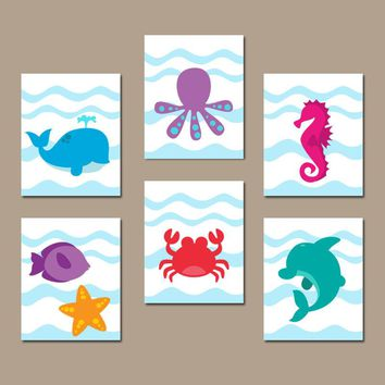 Sea Animals Bathroom Wall Art, CANVAS or Prints, Under the Sea Animals, Ocean Bathroom Decor, Colorful Fish Child Bath Decor, Set of 6