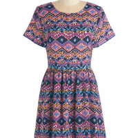 ModCloth Mid-length Short Sleeves A-line What's Glowin' On? Dress