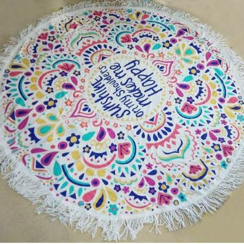 Indian Round Mandala Hippie Tapestry Wall Hanging Throw Towel Boho Beach Yoga Mat With Tassel Shawl Wrap Cotton Home Decor
