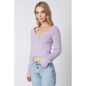 Lilac Button Detail Sweater