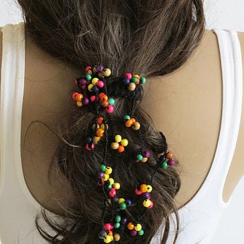 crochet Headpiece Headband Hair Piece multicolor beaded Wedding Bridal Accessories Boho Headband  Bohemian Women Bridesmaids girls girly