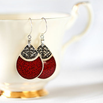 Ceramic jewelry Red dangle earrings Ceramic earrings Red handmade earrings Clay earrings Clay jewelry Sterling silver earwires Elegant Long
