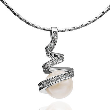 Twisted White Gold Plated Pearl Necklace