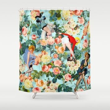 Floral and Pin Up Girls II Pattern Shower Curtain by Burcu Korkmazyurek