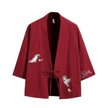Trendy Sinicism Store Mens Trench Coat Jacket Chinese Style Kimono Windbreaker Red Jacket Cardigan Hrajuku Male Clothes 2018 Plus Size AT_94_13