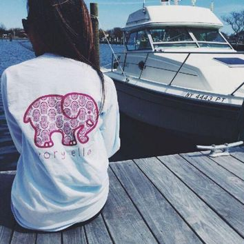 DCCKHNW Women Long Sleeve Cute Elephant Pattern Sweatshirt Ivory Ella Letters Printed Pocket Pullover Tops