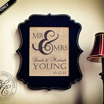 BURLAP MR & MRS Personalized Wedding Gift  Wall Art - Family Name Sign with Established Date