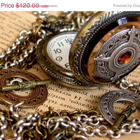 Steampunk Pocket Watch Pendant  Steampunk Goth by LeBoudoirNoir