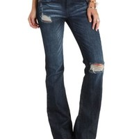 Dark Wash Denim Distressed Mid-Rise Flare Jeans by Charlotte Russe