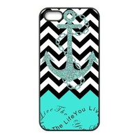 iPhone 5 5s Case - Live the Life You Love, Love the Life You Live Chevron with Anchor Apple iPhone 5 5s Waterproof Rubber (TPU) Designer Case Cover - Turquoise