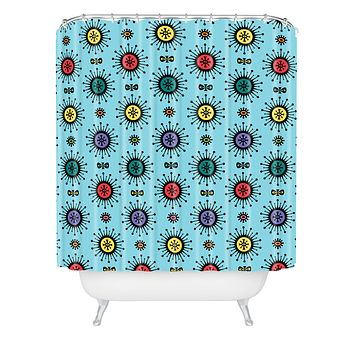 Andi Bird Retro Starlight Turquoise Shower Curtain