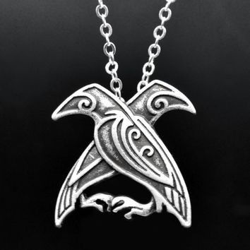 1pc Norse Viking Two Crow Odin's Ravens Bird Pendant Necklace Totem With Chain For Women Men Mythology Amulet Talisman Jewelry
