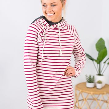 Knotted Double Hooded Sweatshirt - Magenta Stripe