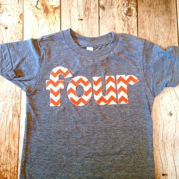 four for 4th Birthday orange Chevron Number -  Pick a chevron color Birthday Shirt- green and blue are shown