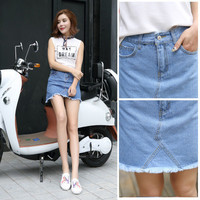 SIMPLE - High Waisted Jeans Dress Mini Skirt Dress b5064