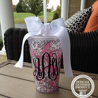 Monogram Alpha Phi Lilly Pulitzer Inspired Acrylic Tumbler with Fabric Insert - Alpha Phi Sorority Tumbler - 16 oz - Monogrammed Tumbler