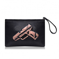 Black PU Leather Clutch Bag with Gun Pattern