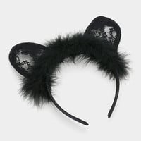 Black Fur Lace Kitty Cat Ears Headband - Halloween Animal Hard Hairband - Little Girls Child Teen Adult Woman Size - Cosplay Accessory