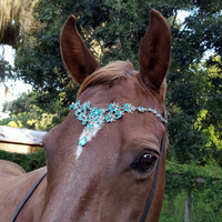 Crystal Blue Browband for Pony, Horse or Draft - Equine Bling Tack Brow Band Jewelry -  Horse Lover Gift