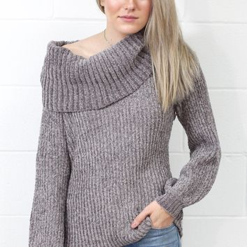 Your Way Softest Knit Off Shoulder Sweater {Grey}