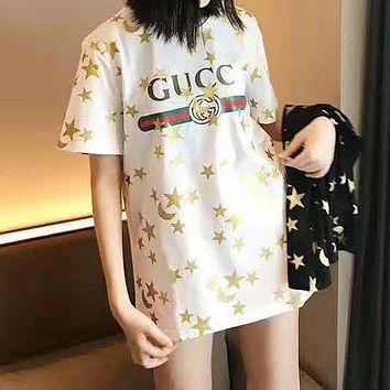 GUCCI Summer Trending Women Cute Star Print Round Collar T-Shirt Top White