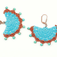 Turquoise & Copper Lace Earrings – Turquoise Stones- Statement - Chandelier - Geometric - Fiber Art Jewelry – Lightweight