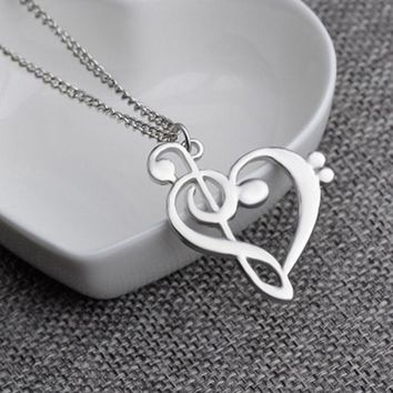 Hot Fashion Hollow Heart Shaped Musical Note Pendant Necklace Music Symbol Heart Jewelry Infinity Love Charm Pendant Necklaces