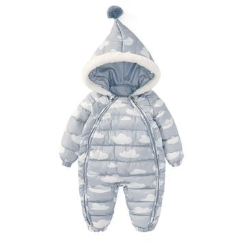 Toddlers Jumpsuit Thickened Autumn Winter Warm Cotton Clothes Fashion Zipper Boys&girls Overall Romper Children Hood Down Jacket