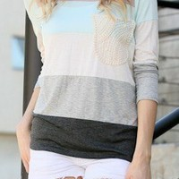 Hannah Knit Color Block 3/4 Sleeve Tee with Lace Pocket Detail