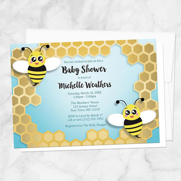 Honeycomb Bee Baby Shower Invitations - Cute Bee and Honeycomb design over Turquoise - Bee Shower Invites - Printed Bee Invitations