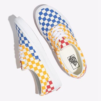 Vans Checkerboard Slip-On Mustard yellow spliced square canvas shoes