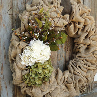 Hydrangea Wreath--Spring Burlap Wreath--Green and Ivory Hydrangea Flowers--Hydrangea Burlap Wreath--Burlap Wreath