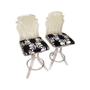 Pre-owned Hollywood Regency Lucite Chairs - A Pair