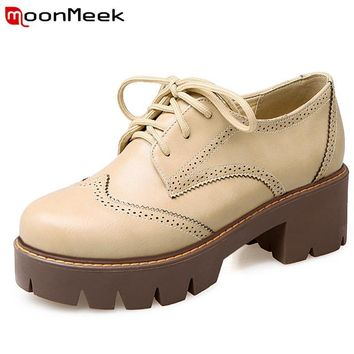 MoonMeek Brogue shoes woman high heels 5.5cm platform shoes lace-up spring autumn fash
