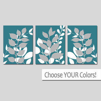 TEAL Wall Art, Bedroom Pictures, Leaves CANVAS or Prints Leaf Bathroom Artwork, Foliage Pictures, Flower Art, Set of 3 Home Decor
