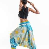 Geometric Mandalas Jumpsuit Harem Pants in Blue Gold