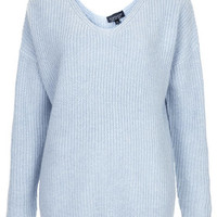 Clean Rib Sweater - Light Blue