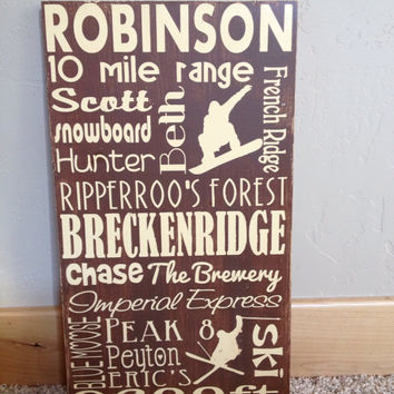 Personalized Wooden Distressed Breckenridge City Sign 12x20""