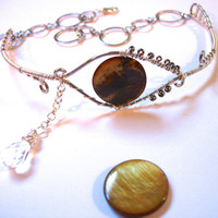 Crying Eye Armlet, Upper Arm Bracelet, Adjustable, Glass Eye with Briolette Teardrop, Brown and Silver
