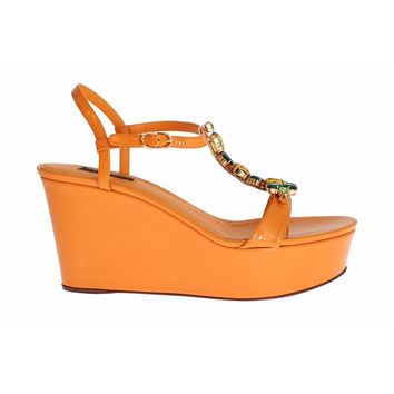 Dolce & Gabbana Orange Leather Crystal Wedge Sandals Shoes